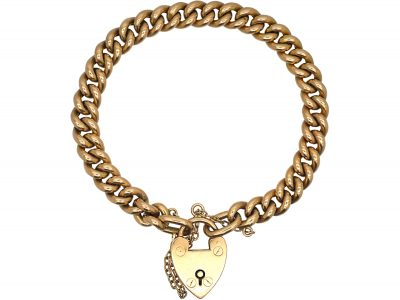 Edwardian 15ct Gold Curb Bracelet with Padlock