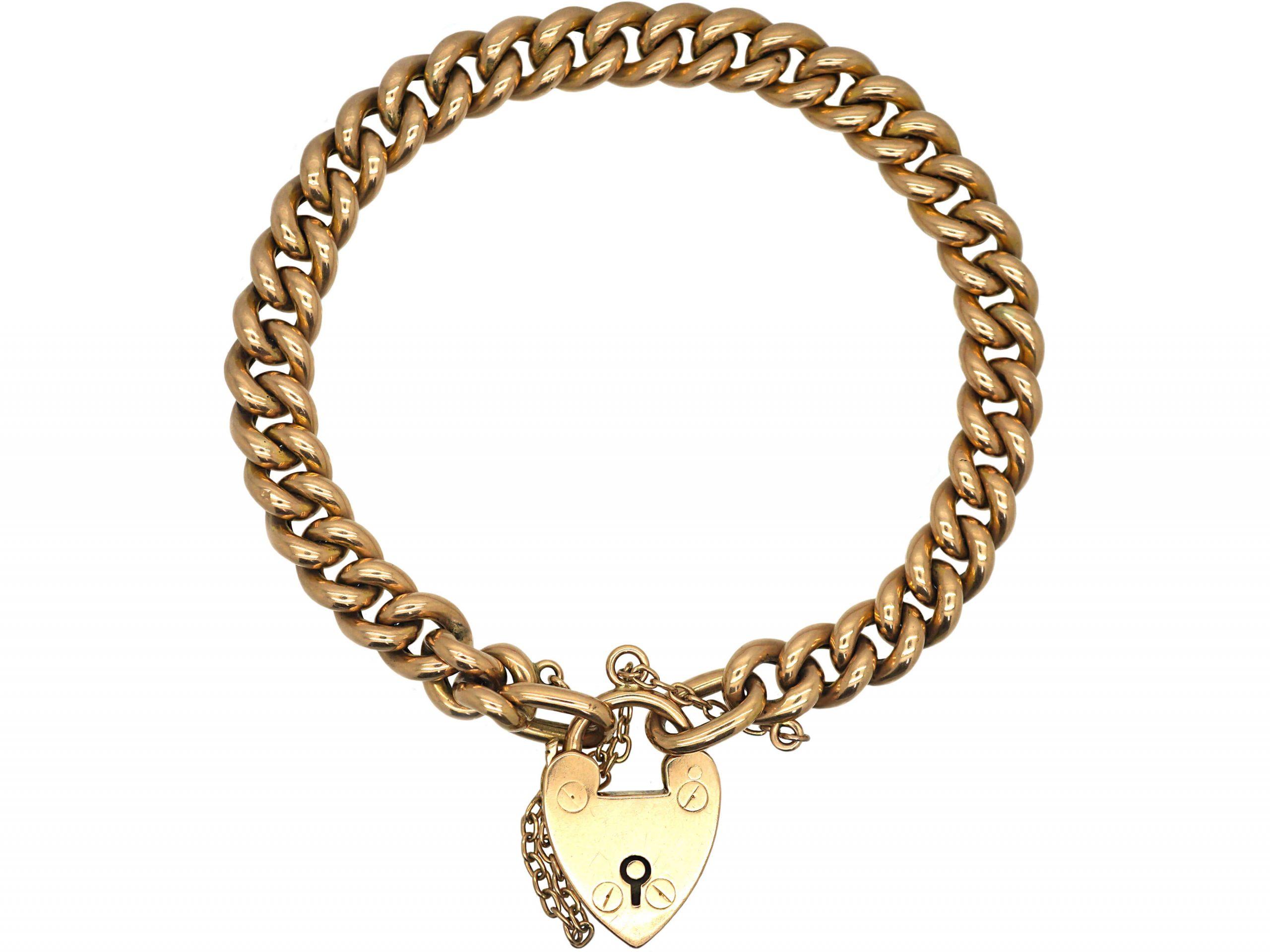 Edwardian 15ct Gold Curb Bracelet with Padlock