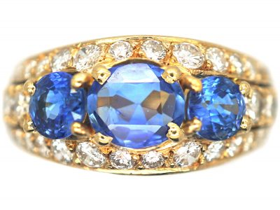 French 18ct Gold, Sapphire & Diamond Bombe Style Ring