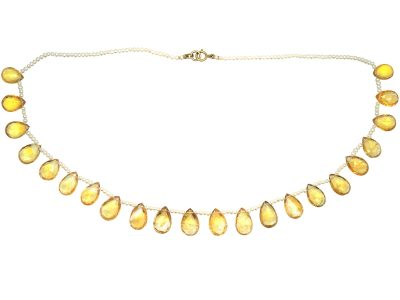 Edwardian Natural Seed Pearl & Citrine Drops Necklace