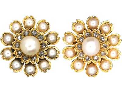 Victorian 15ct Gold Natural Pearl & Rose Diamond Flower Cluster Earrings