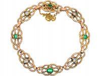 Art Nouveau 15ct Gold, Emerald & Diamond Bracelet