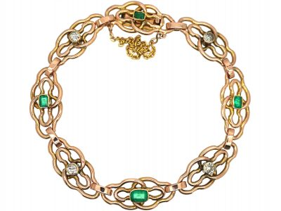 Art Nouveau 15ct Gold, Emerald & Diamond Bracelet
