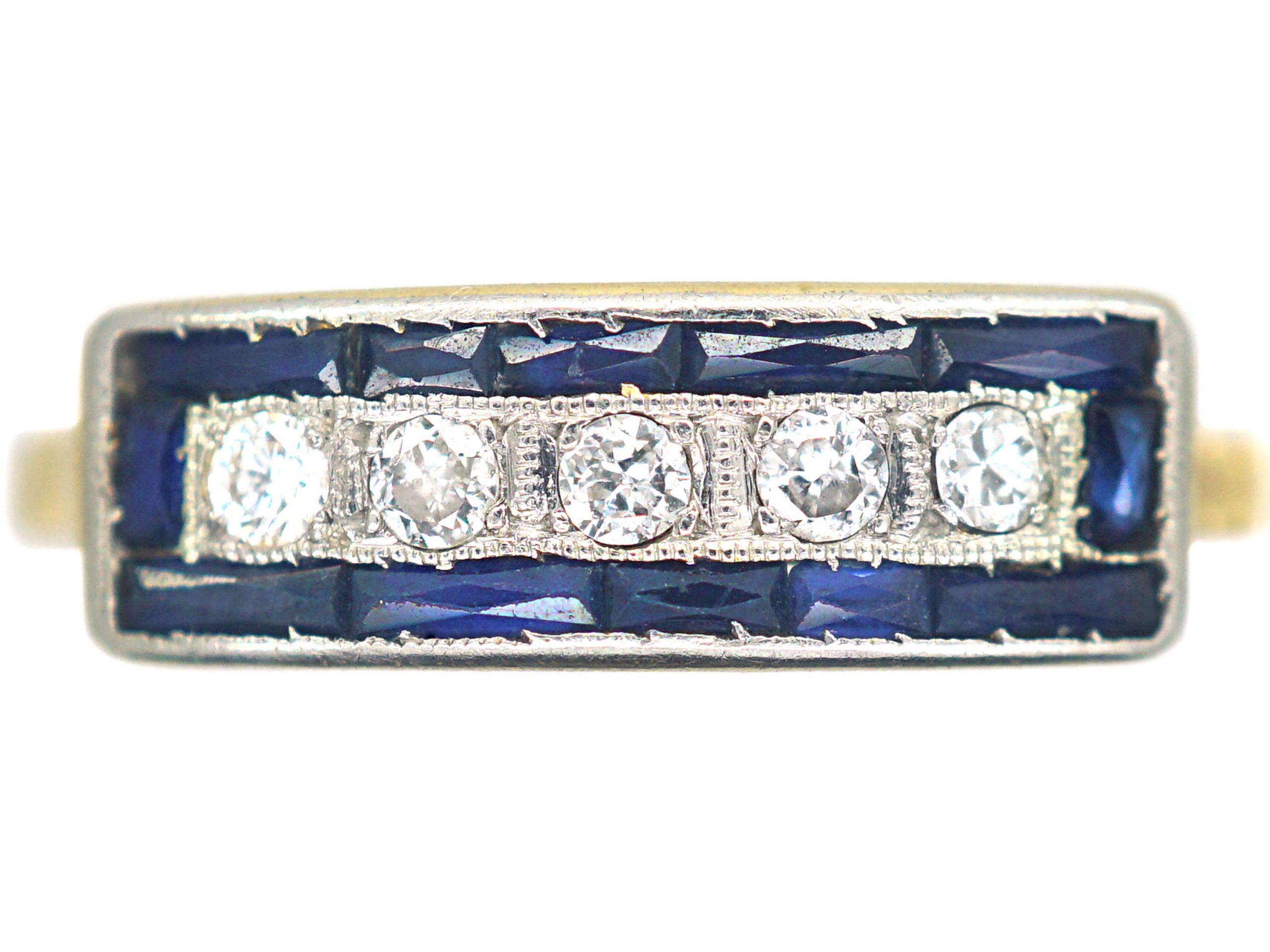 Art Deco 18ct Gold & Platinum, Diamond & Sapphire Rectangular Ring