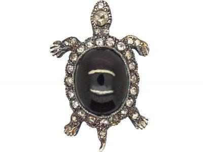 Rose Diamond & Cabochon Garnet Turtle Brooch