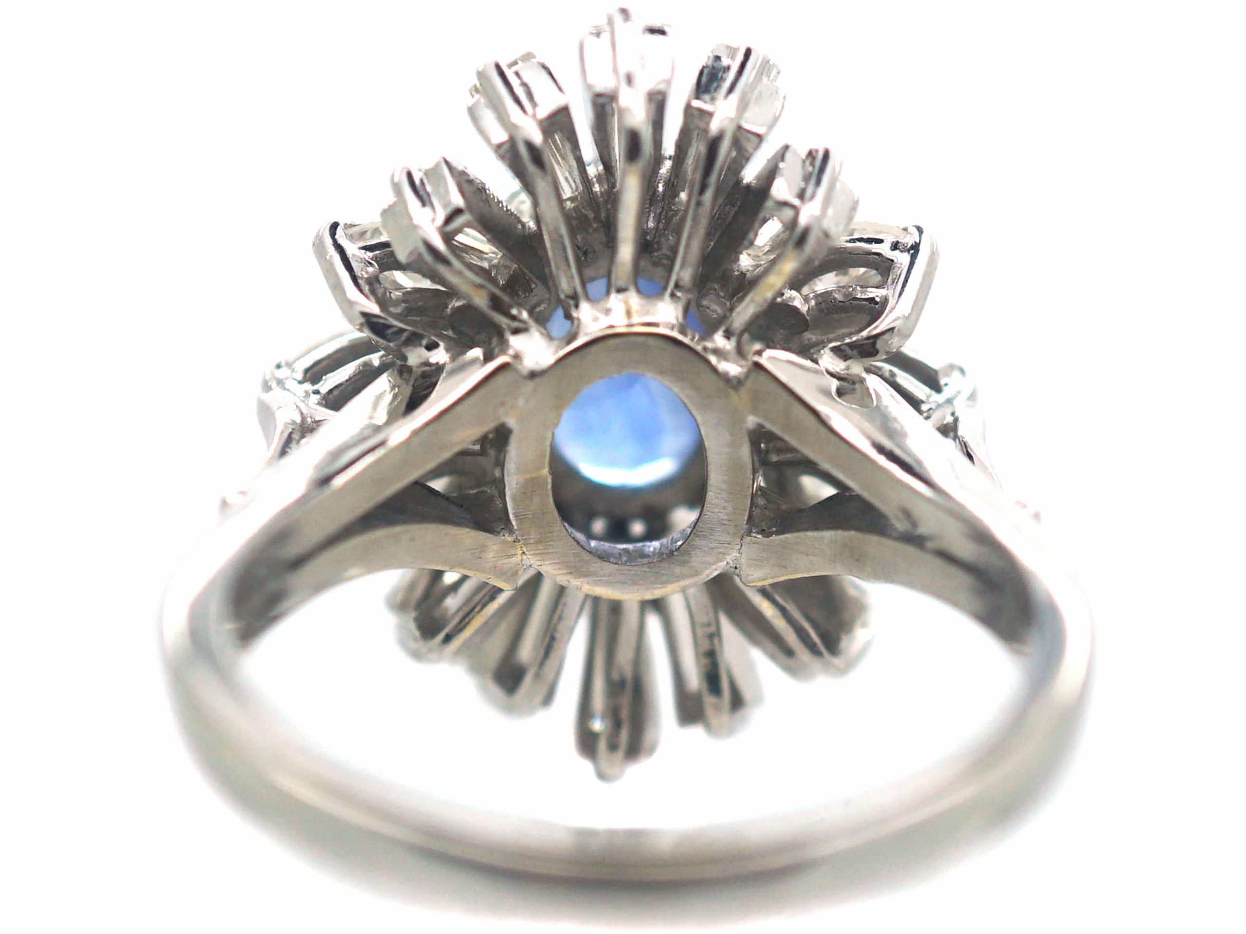 18ct White Gold 1950s Sapphire & Diamond Ballerina Ring