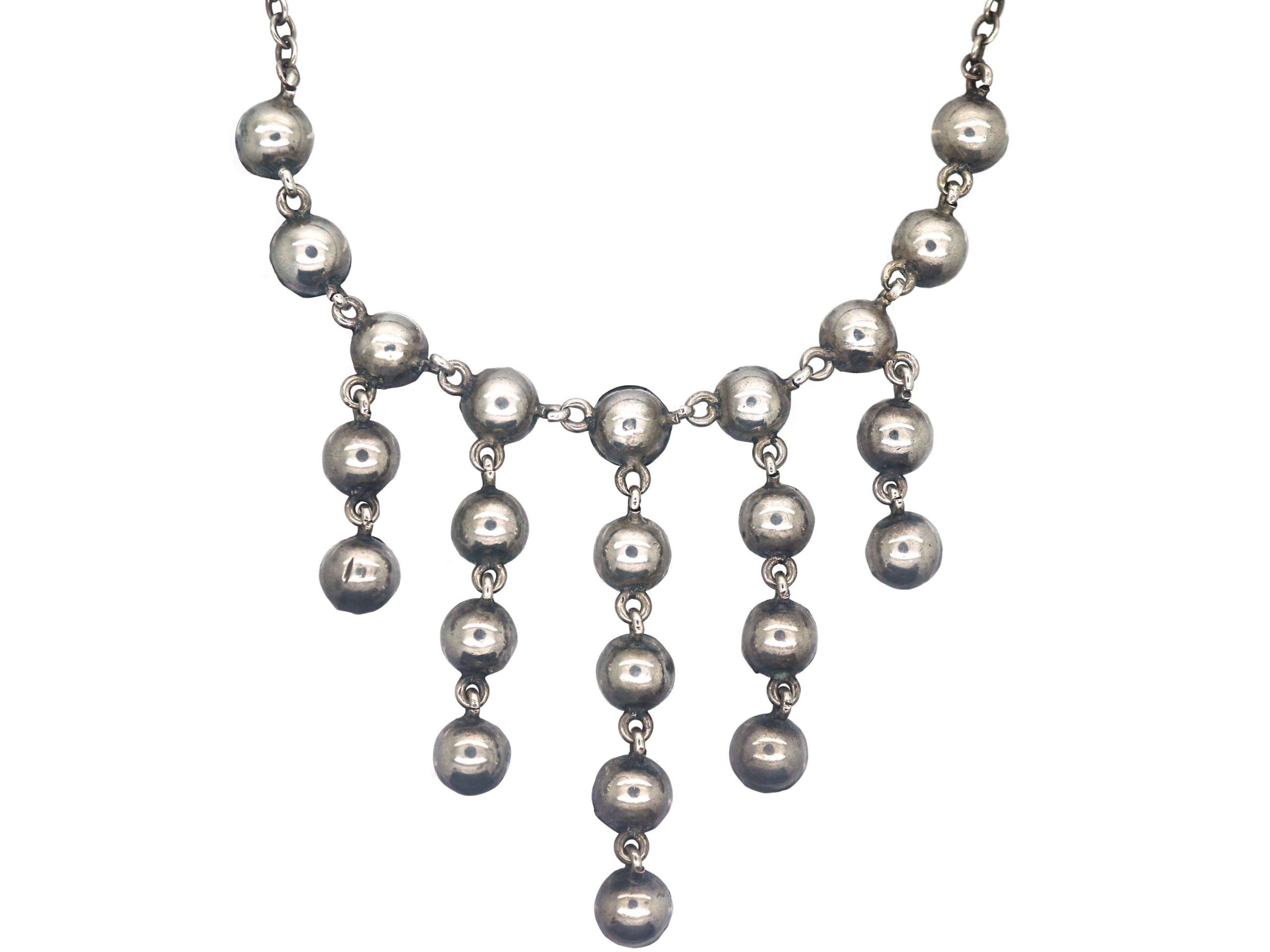 Edwardian Silver & Green Paste Drops Necklace