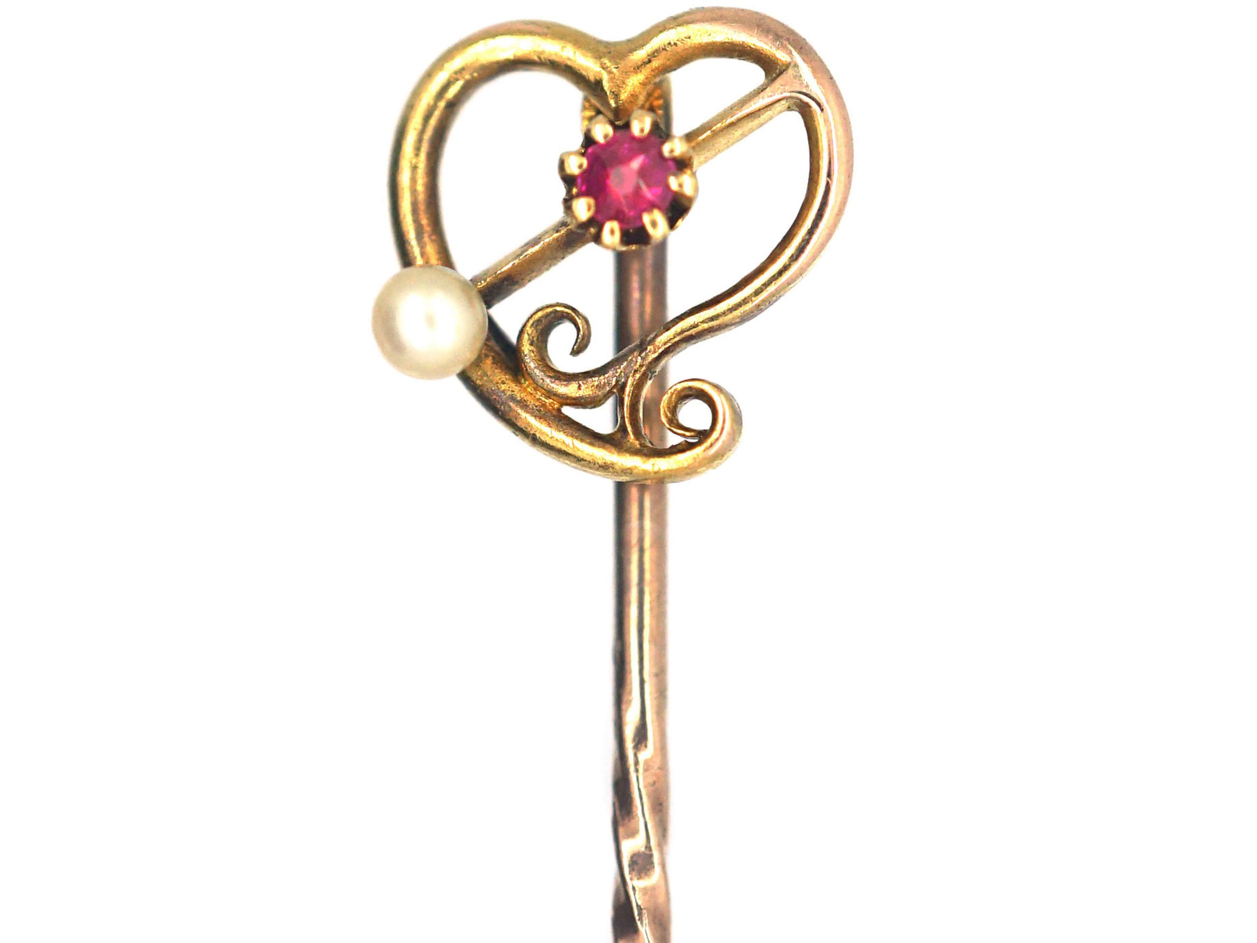 Edwardian 15ct Gold Weeping Heart Tie Pin set with a Ruby & a Natural Pearl