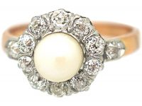 French Belle Epoque 18ct Gold & Platinum Cluster Ring set with a Natural Pearl & Diamonds