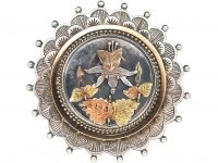 Victorian Silver & Gold Overlay Brooch with Daffodil Motif