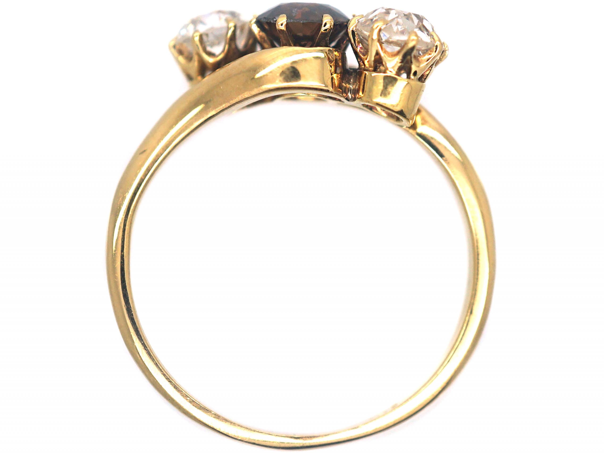 Art Deco Three Stone Cognac & White Diamond Crossover Ring