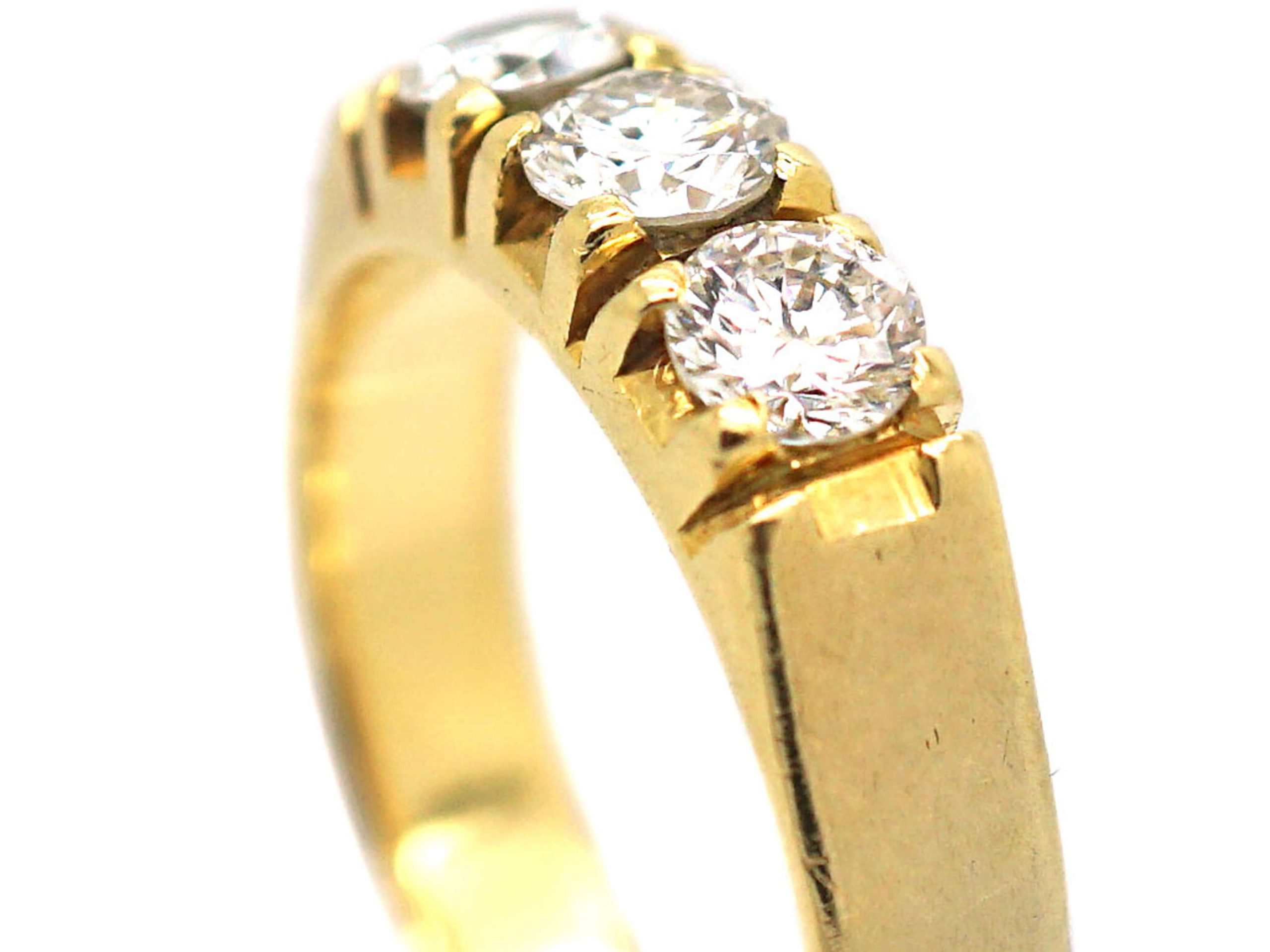 French 18ct Gold & Diamond Three Stone Ring