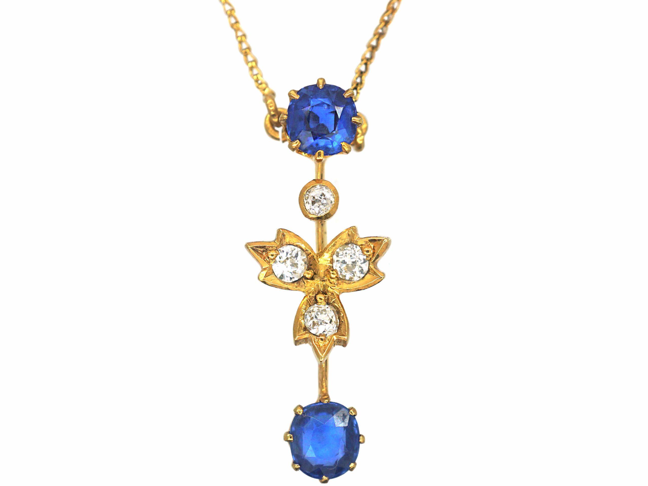 Edwardian 15ct Gold Sapphire & Diamond Pendant on 9ct Gold Chain