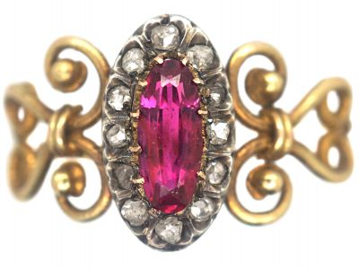 Victorian 18ct Gold, Ruby & Rose Diamond Ring
