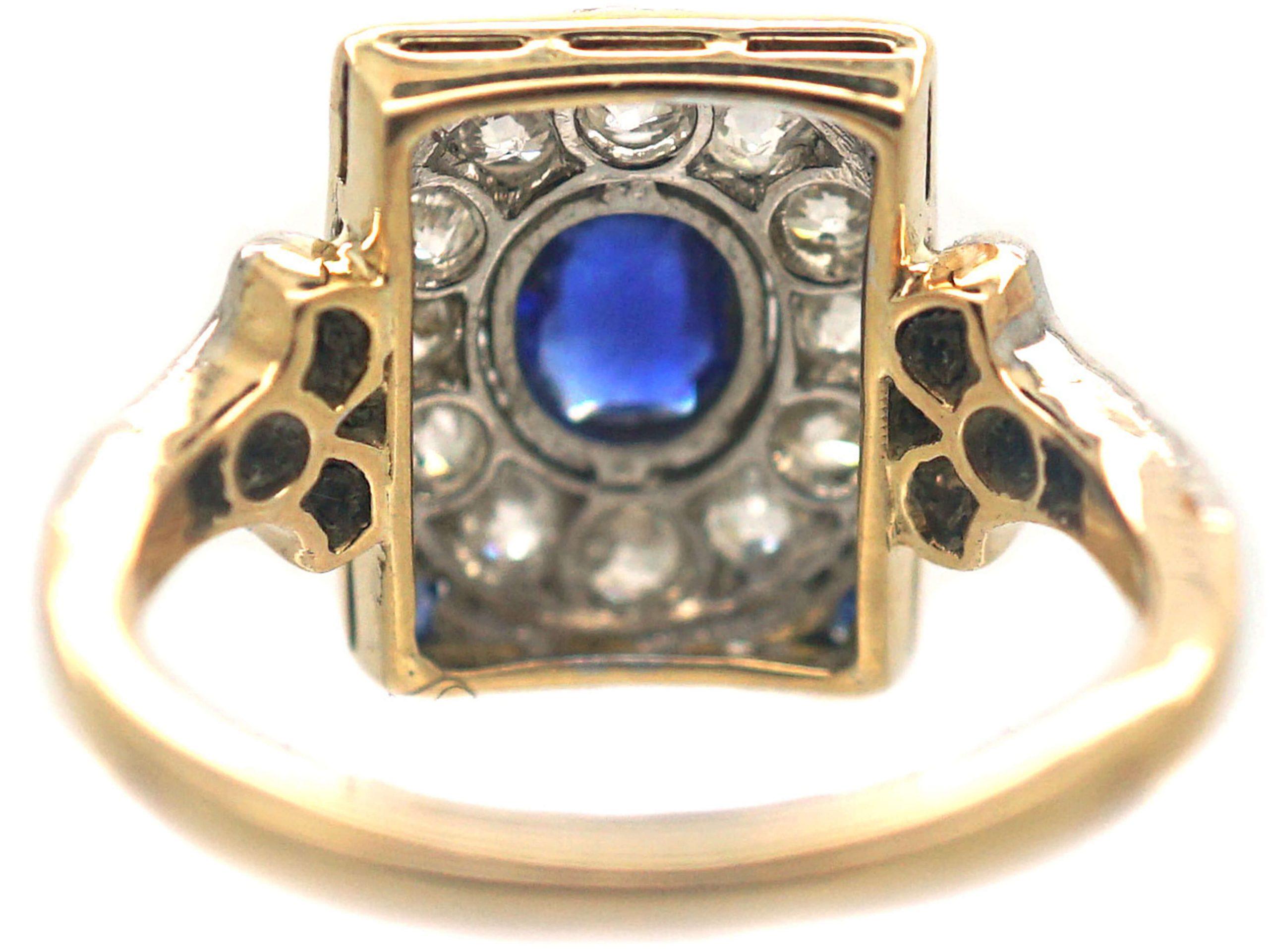 Art Deco 14ct Gold & Platinum, Sapphire & Diamond Rectangular Cluster Ring