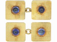 18ct Gold Square Cufflinks set with Cabochon Cut Sapphires
