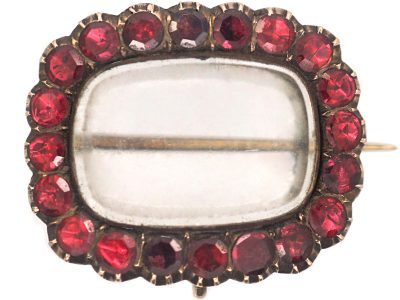 Georgian 9ct Gold & Flat Cut Garnet Brooch with Hinged Compartment