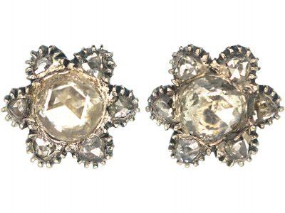 Victorian Silver & Rose Diamond Flower Cluster Earrings