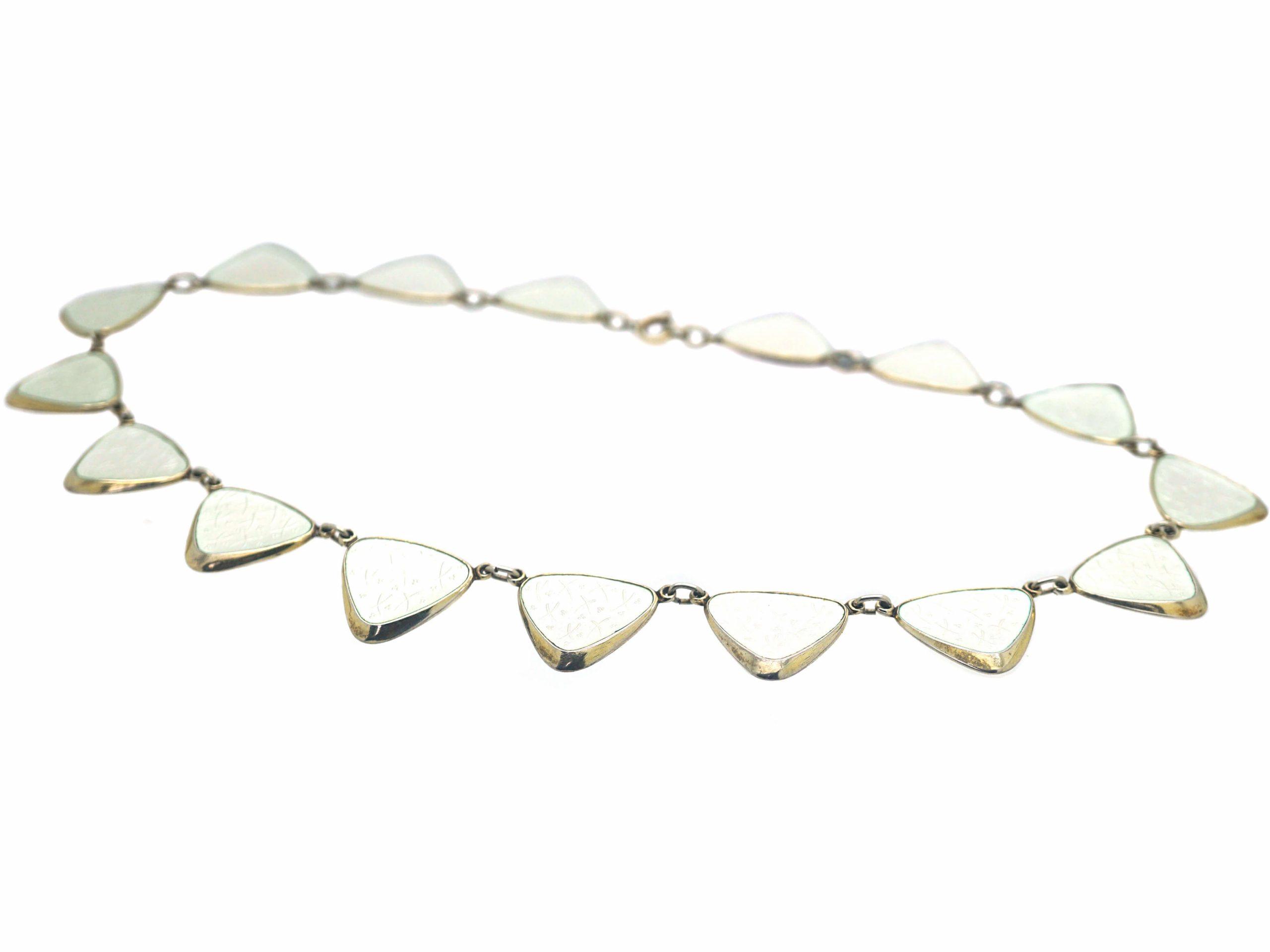 Retro Silver Gilt & White Enamel Necklace by Albert T Scharning
