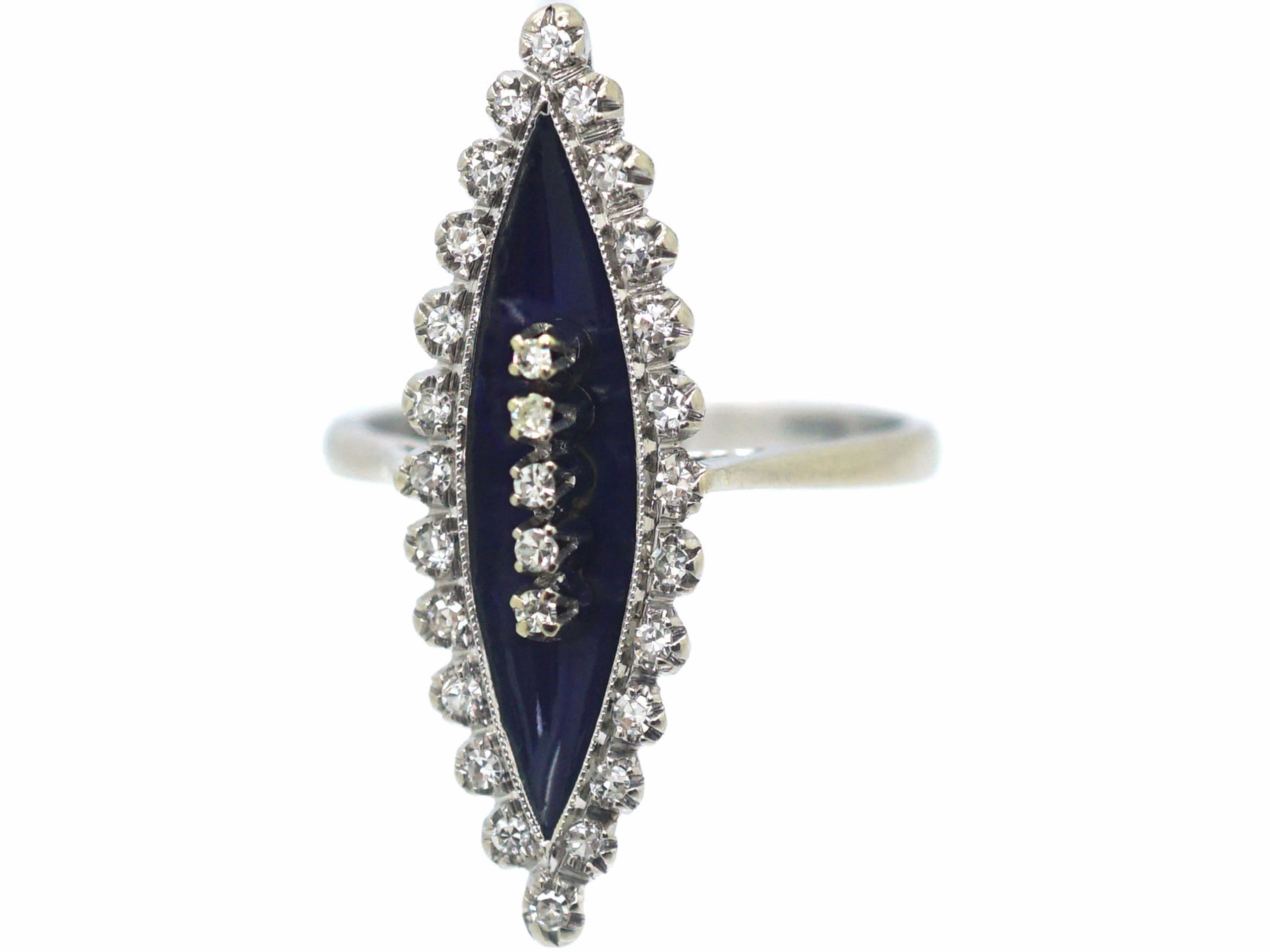 18ct White Gold, Blue Enamel & Diamond Marquise Ring