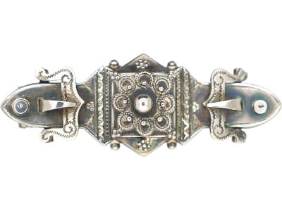 Victorian Silver Brooch with Buckle Design