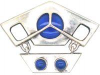 Art Nouveau Silver & Blue Chalcedony Brooch