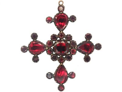 Georgian gold & Flat Cut Garnet Brooch