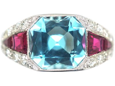 French Art Deco Platinum, Diamond, Aquamarine & Ruby Ring