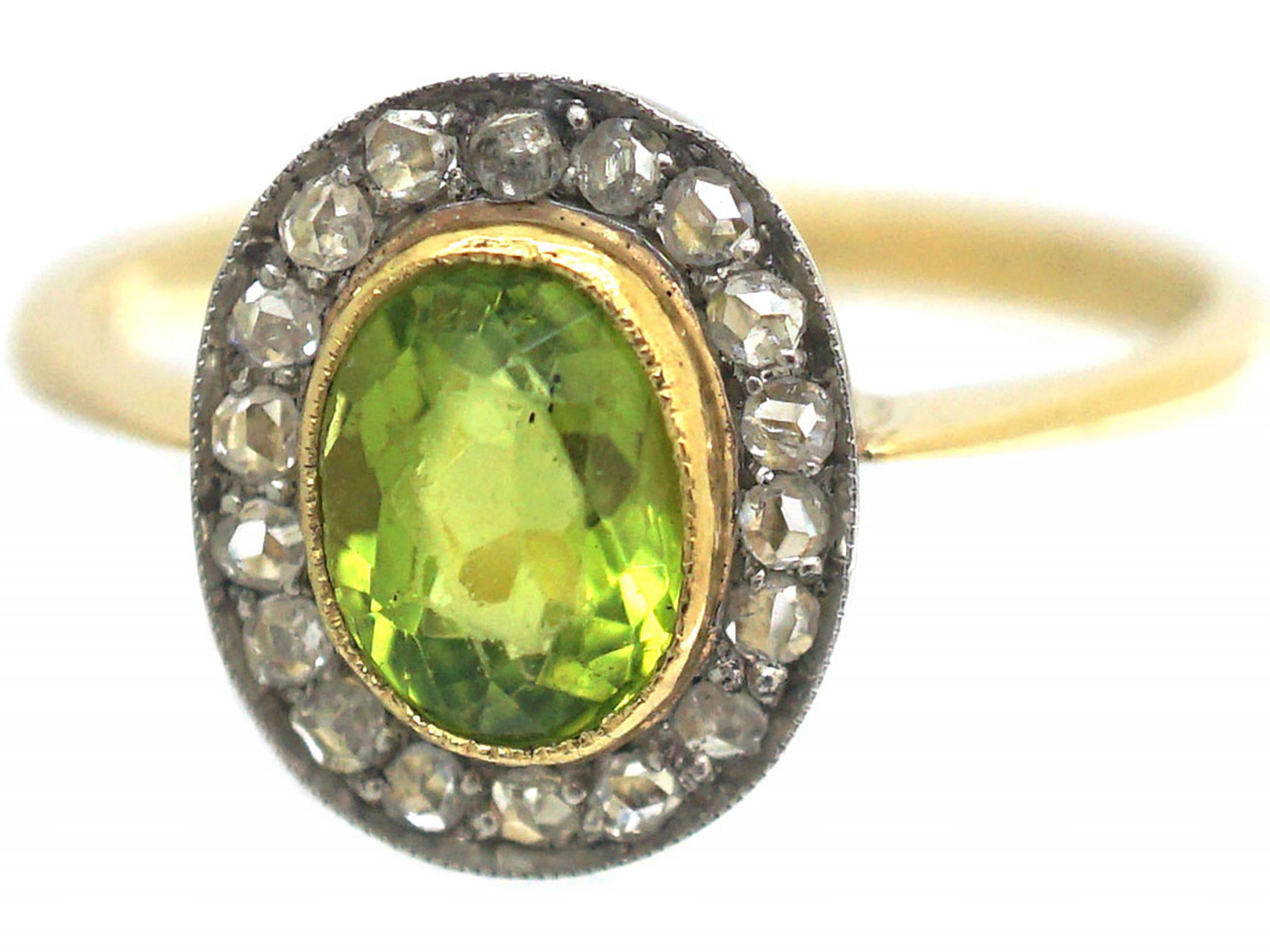 Edwardian 18ct Gold, Rose Diamond & Peridot Oval Cluster Ring