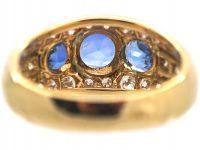 French 18ct Gold, Sapphire & Diamond Bombé Style Ring