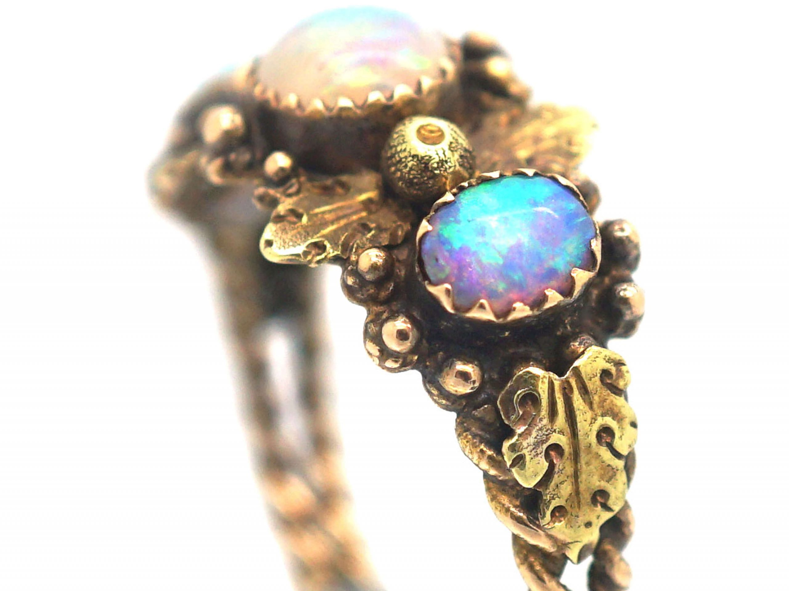 Regency 15ct Two Colour Gold Ring in an Acorn & Oak Leaf Design set with Three Opals