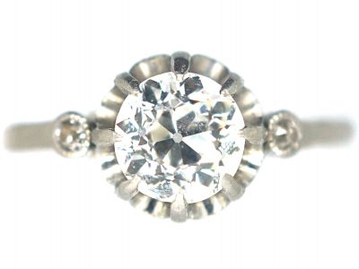 French Art Deco, Platinum & Diamond Solitaire Ring with Diamond Set Shoulders