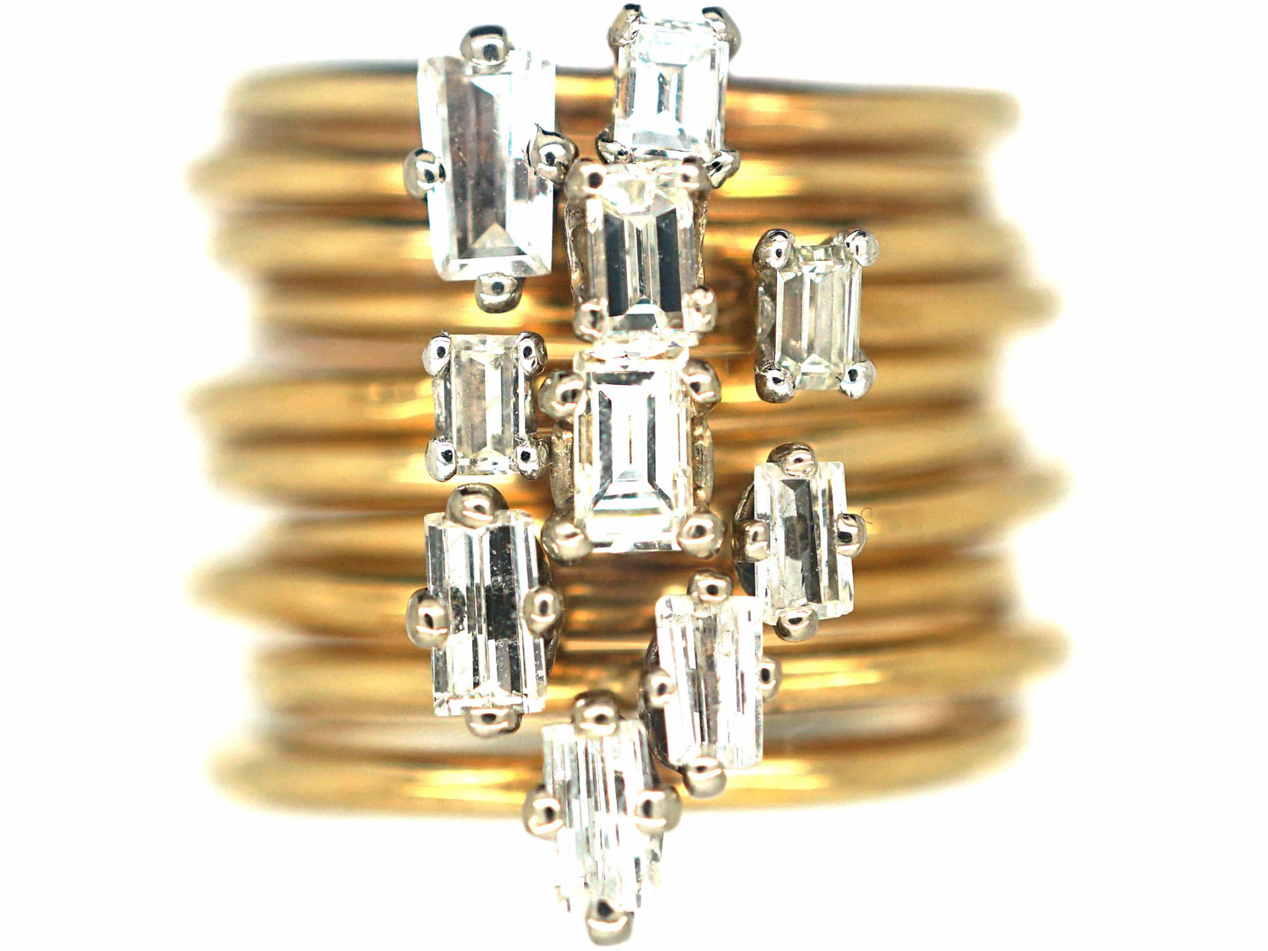 18ct Gold & Claw Set Diamond Baguette Band Ring