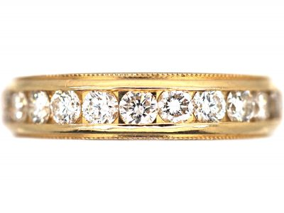 14ct Gold & Diamond Line Ring