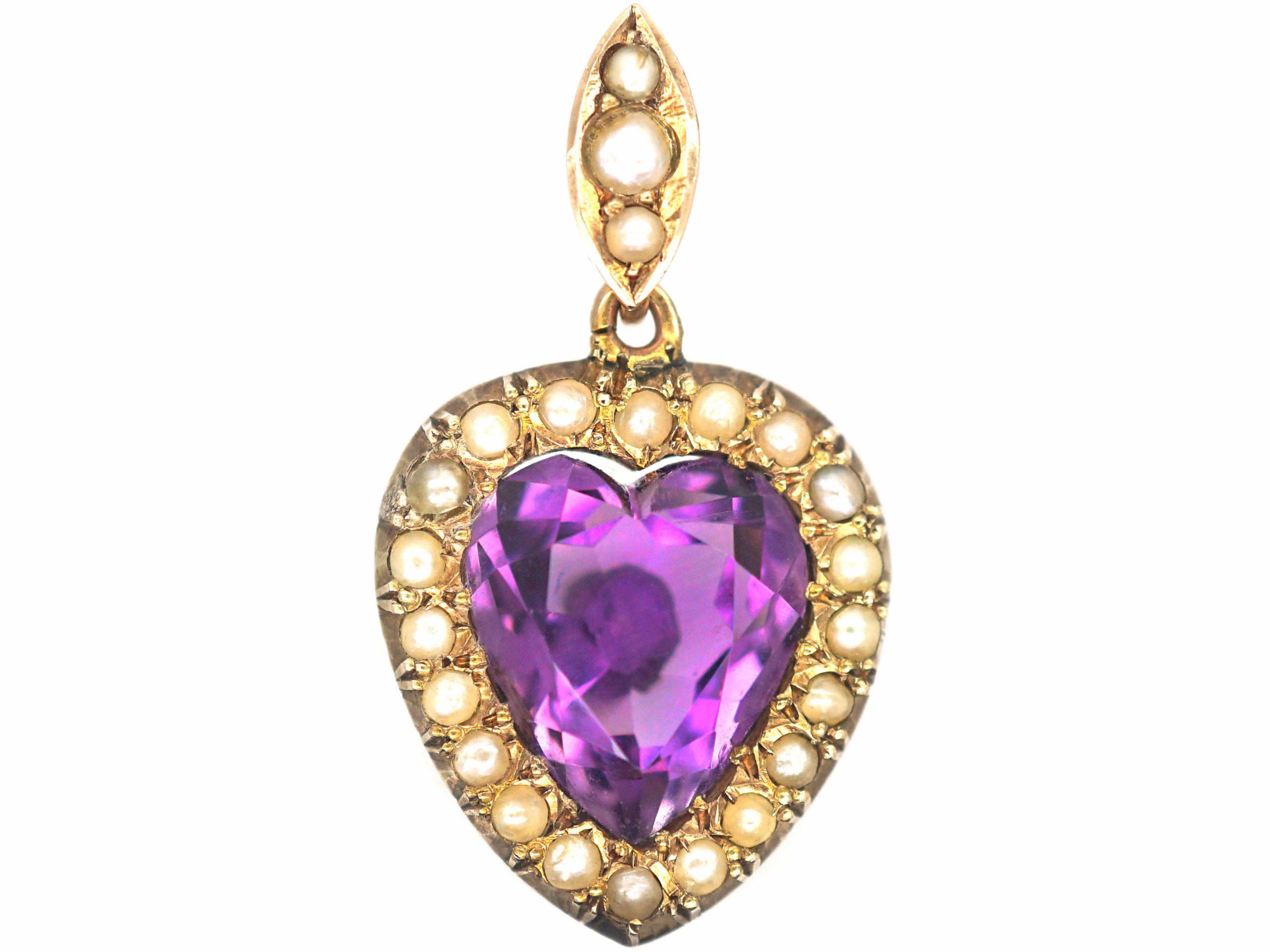 Edwardian 9ct Gold, Amethyst & Natural Split Pearl Heart Shaped Pendant
