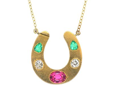 Victorian 18ct Gold & Gem Set Horseshoe Pendant on Gold Chain