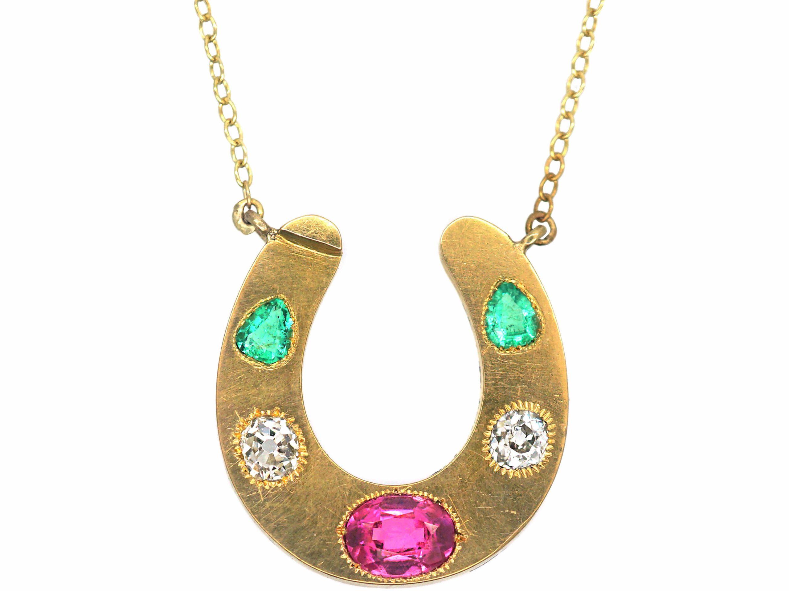 Victorian 18ct Gold & Gem Set Horseshoe Pendant on Gold Chain