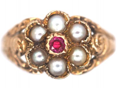 9ct Gold Cluster Ring set with a Ruby & Natural Split Pearls