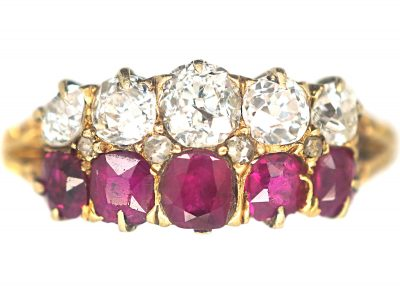 Victorian 18ct Gold, Ruby & Diamond Two Row Ring