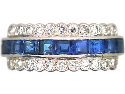 Art Deco Platinum Sapphire & Diamond Three Row Ring