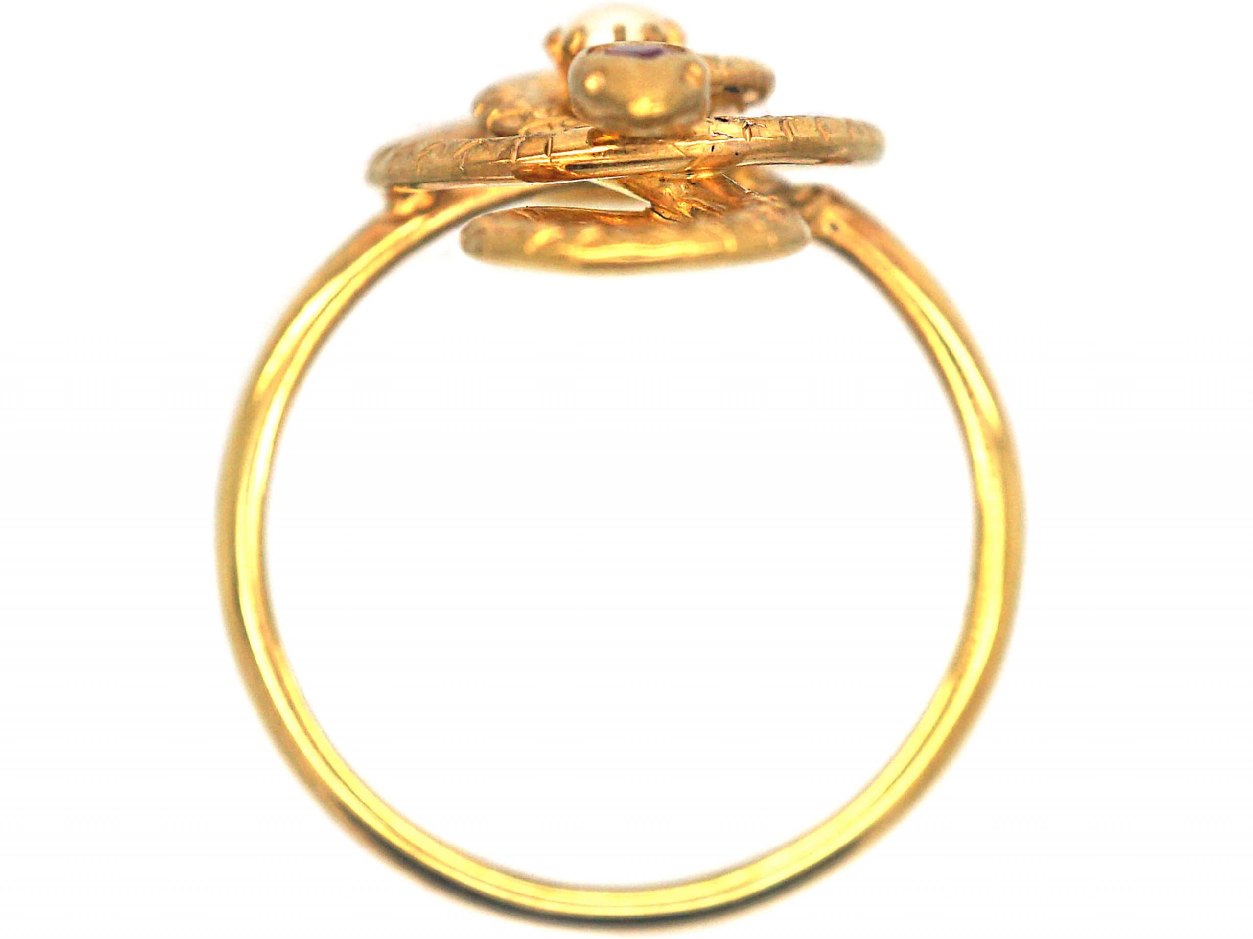 Edwardian 14ct Gold Snake Ring set with  Natural Split Pearl & a Ruby