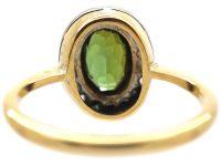 Edwardian 18ct Gold, Green Tourmaline & Rose Diamond Oval Cluster Ring