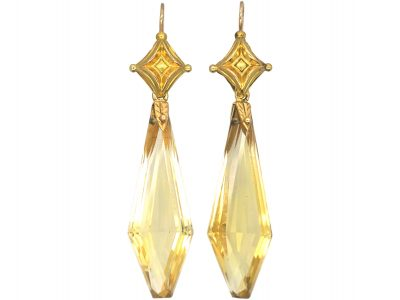 Victorian 18ct Gold & Citrine Drop Earrings
