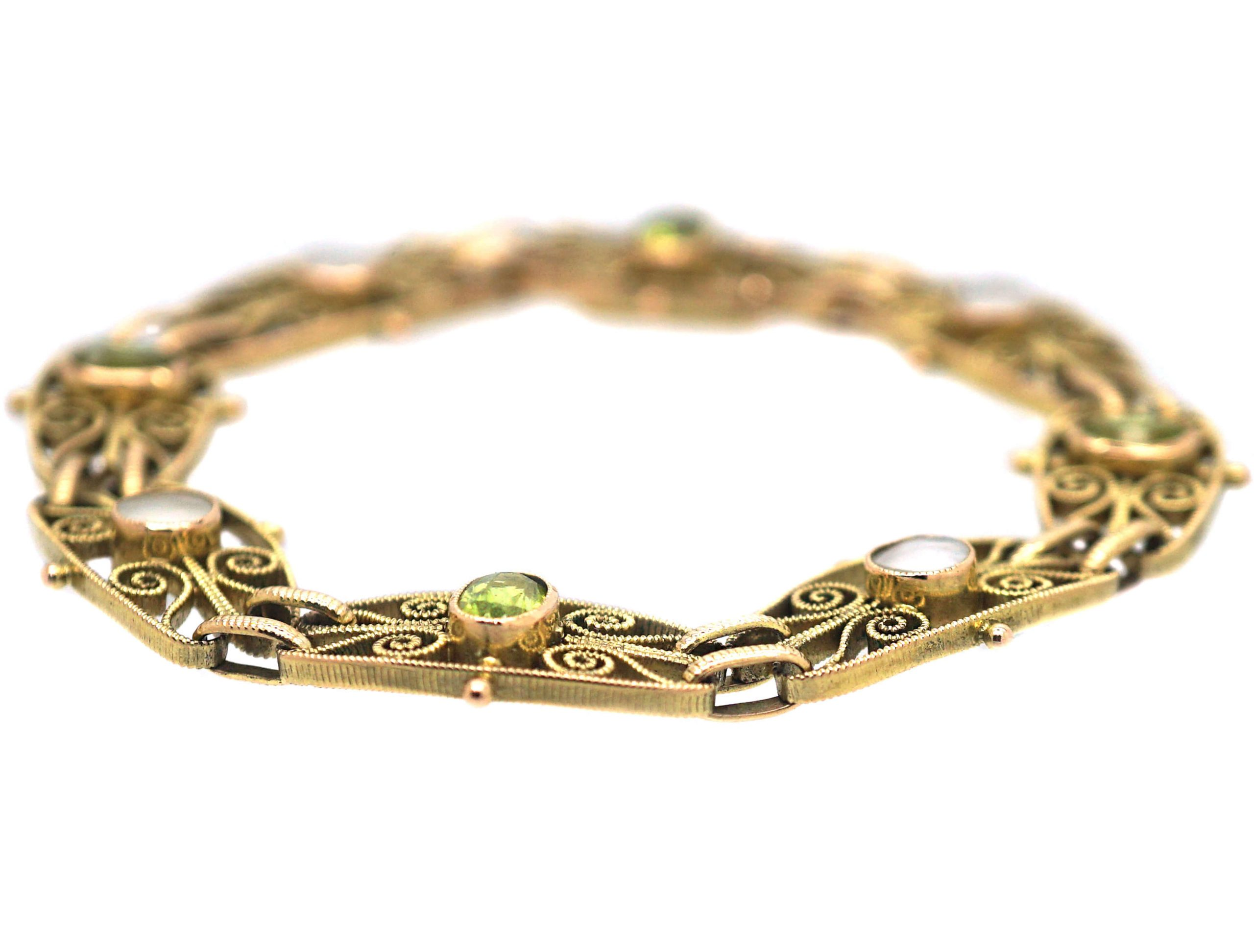 Edwardian 9ct Gold Bracelet set with Peridots & Blister Pearls by Murrle Bennett & Co