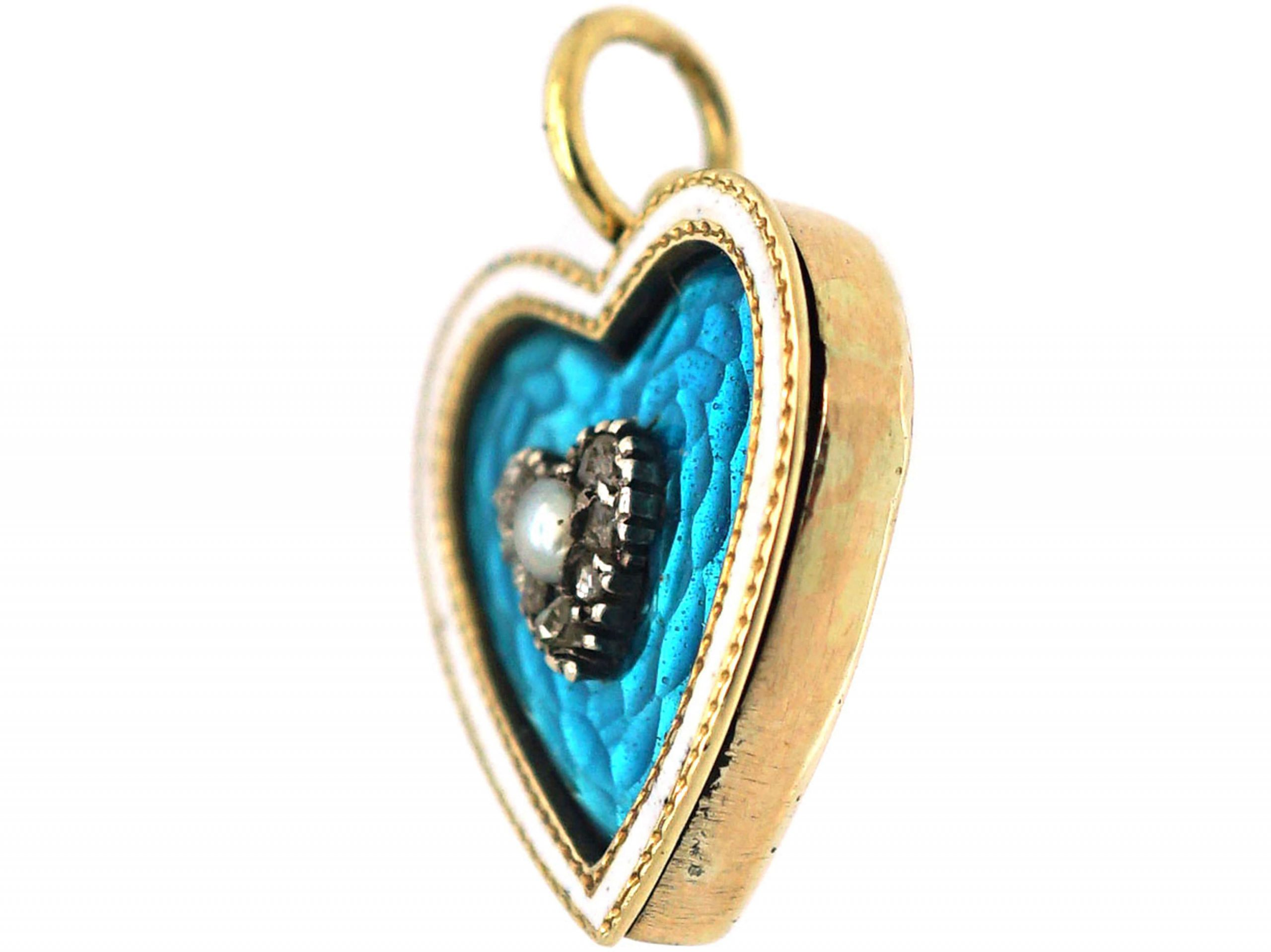 Edwardian 9ct Gold Heart Shaped Pendant with Blue & White Enamel & Rose Diamond & Natural Pearl Heart in the Centre