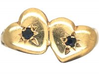 9ct Gold Double Heart Ring that Opens