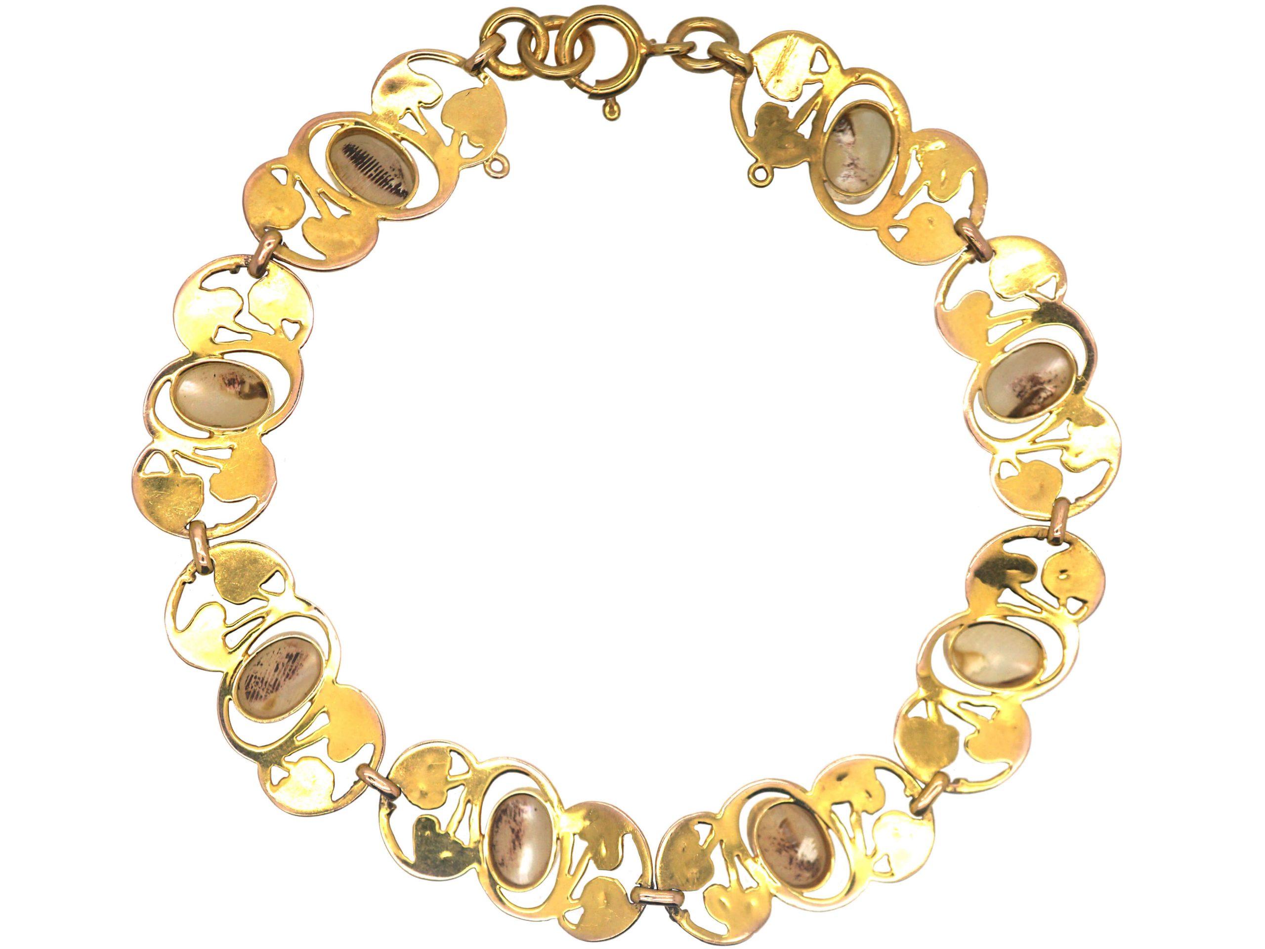 Art Nouveau 9ct Gold & Blister Pearl Bracelet