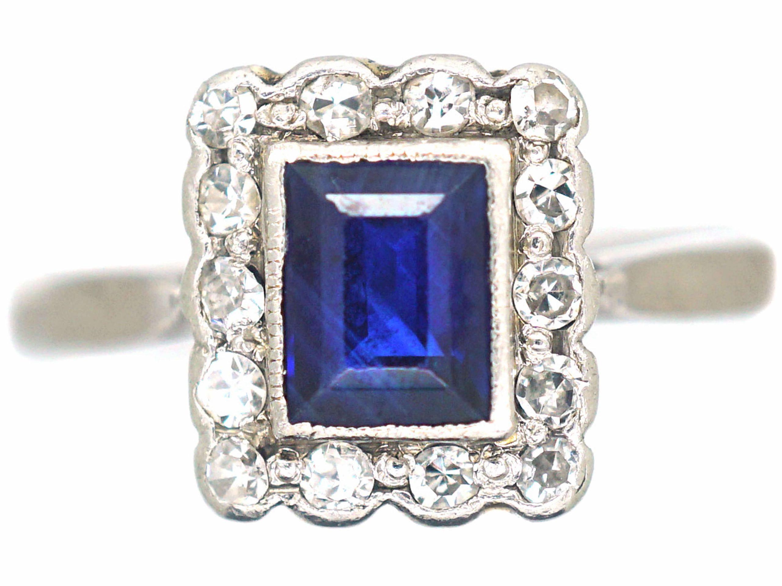 Art Deco 18ct White Gold & Platinum, Sapphire & Diamond Rectangular Ring