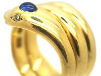 Victorian 18ct Gold Ring set with a Cabochon Sapphire & Rose Diamond Eyes