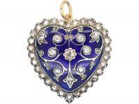 Edwardian 18ct White & Yellow Gold Royal Blue Enamel & Diamond Heart Shaped Pendant